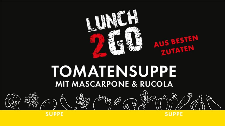 Lunch2Go - Tomatensuppe mit Mascarpone & Rucola